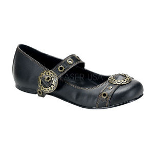 Steampunk Shoes Mary Jane Ballet Flats Gears Black